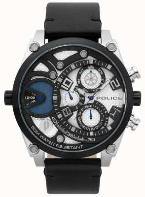 Police Reloj de correa de cuero negro vigor para hombre 15381JSTB/04