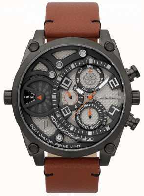 Police Reloj de pulsera de cuero marrón vigoroso para hombre 15381JSU/61