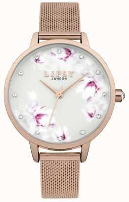 Lipsy Reloj de mujer con esfera de malla de oro rosa LP577