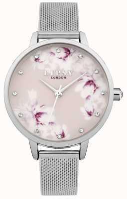 Lipsy Reloj floral de malla rosa plateado para mujer LP576