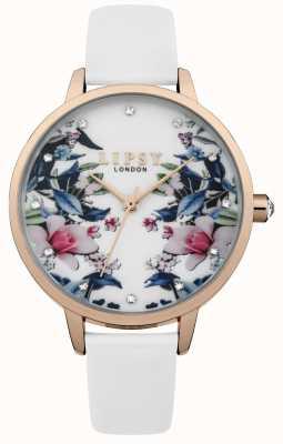Lipsy Reloj floral con correa blanca para mujer LP572