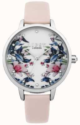 Lipsy Reloj floral con correa rosa para mujer LP573