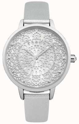 Lipsy Reloj de mujer de encaje plateado LP570