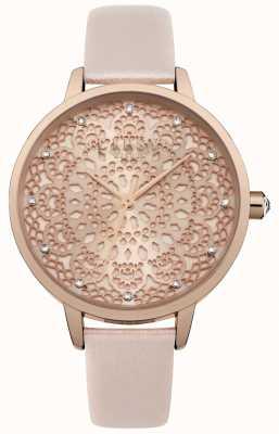 Lipsy Reloj de mujer con cordones de oro rosa LP571