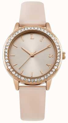 Lipsy Correa rosa para mujer, esfera de oro rosa reloj LP565