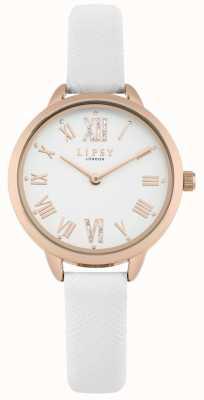 Lipsy Reloj de mujer con correa blanca en oro rosa LP579