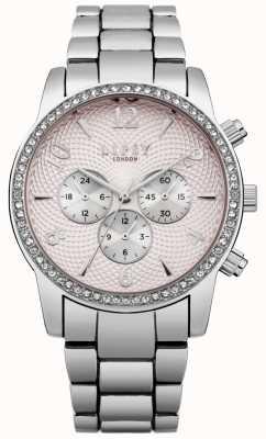 Lipsy Reloj de pulsera de plata con esfera rosa LP562