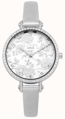 Lipsy Reloj floral con correa plateada para mujer LP567
