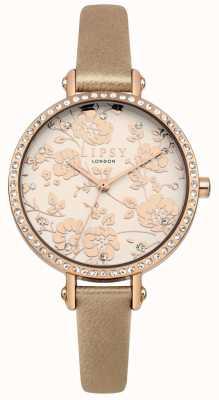 Lipsy La mujer montó la correa de oro con reloj floral de oro rosa LP584