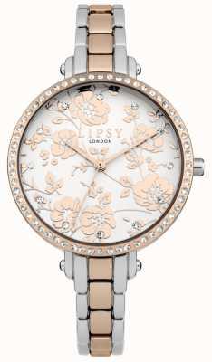 Lipsy Reloj floral con dos tonos para mujer LP569