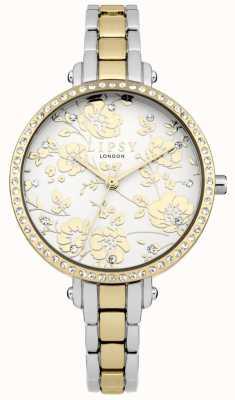 Lipsy Reloj floral con dos tonos para mujer LP568