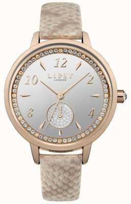 Correa de oro rosa de Lipsy y caja de reloj LP582
