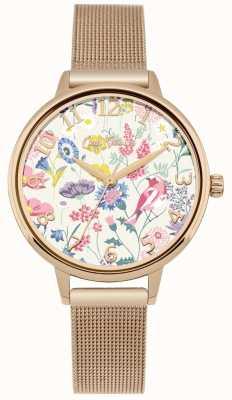 Cath Kidston Reloj de malla de oro rosa con esfera floral para mujer CKL051RGM