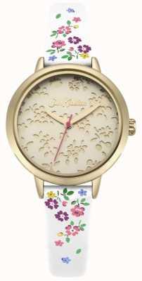 Cath Kidston Reloj de correa blanca ditsy highgate con corte láser para mujer CKL055WG