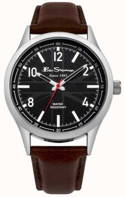 Ben Sherman Mens union jack dial correa marrón reloj BS002BBR