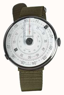 Klokers Klok 01 reloj negro cabeza liquen verde textil sola correa KLOK-01-D2+KLINK-03-MC2