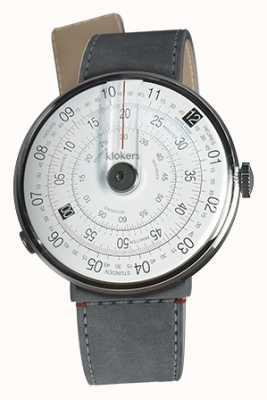 Klokers Klok 01 reloj negro cabeza gris alcantara estrecho correa individual KLOK-01-D2+KLINK-04-LC11