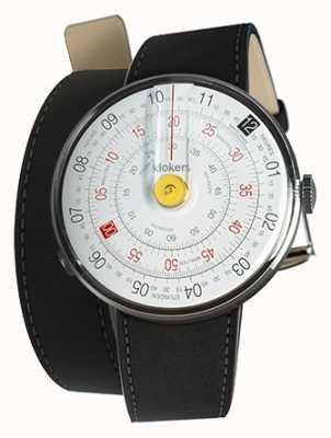 Klokers Klok 01 reloj amarillo cabeza estera correa doble negro KLOK-01-D1+KLINK-02-380C2