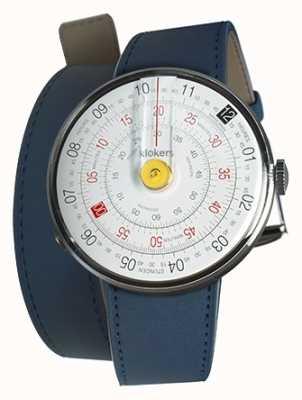 Klokers Klok 01 reloj amarillo cabeza azul índigo doble correa KLOK-01-D1+KLINK-02-380C3