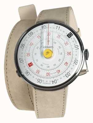 Klokers Klok 01 reloj amarillo cabeza gris alcantara 420mm correa doble KLOK-01-D1+KLINK-02-420C6