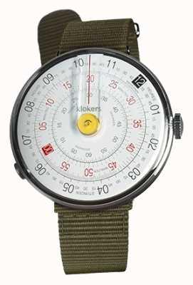 Klokers Klok 01 reloj amarillo cabeza liquen verde textil sola correa KLOK-01-D1+KLINK-03-MC2