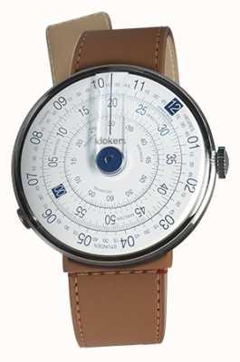 Klokers Klok 01 azul reloj cabeza caramelo marrón estrecho correa individual KLOK-01-D4.1+KLINK-04-LC12