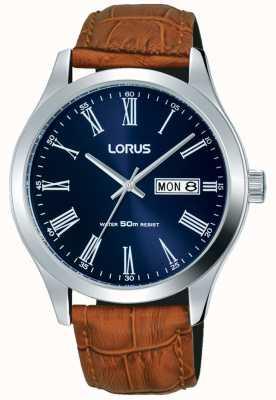 Lorus Correa de cuero marrón azul oscuro fecha y día de visualización RXN55DX9