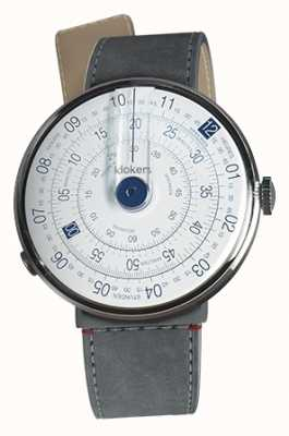 Klokers Klok 01 blue watch head gris alcantara strait single strap KLOK-01-D4.1+KLINK-04-LC11