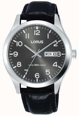 Lorus Correa de cuero negro, esfera gris, fecha y fecha RXN59DX9