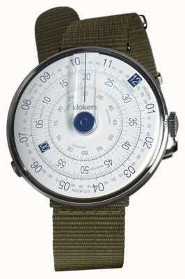 Klokers Klok 01 azul reloj cabeza liquen verde textil sola correa KLOK-01-D4.1+KLINK-03-MC2