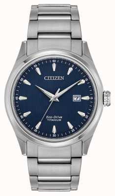 Citizen Pulsera de titanio azul con esfera plateada para hombre BM7360-82L