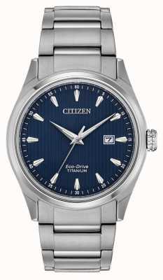 Citizen Pulsera súper titanio de tono plateado con esfera azul para hombre BM7360-82L
