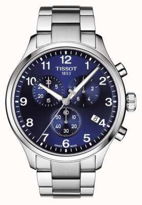 Tissot Mens chrono xl classic dial azul pulsera de acero inoxidable T1166171104701