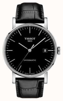 Tissot Mens everytime swissmatic dial negro correa de cuero negro T1094071605100