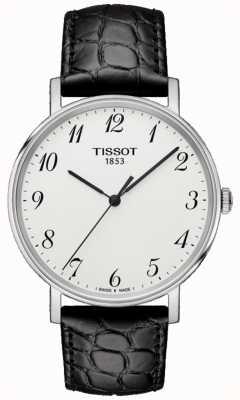 Tissot Mens everytime medium cuero negro esfera de plata T1094101603200