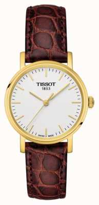 Tissot Para mujer todo el cuero marrón dorado hecho suizo T1092103603100