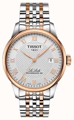 Tissot Mens le locle powermatic 80 dos tonos chapado en oro rosa T0064072203300