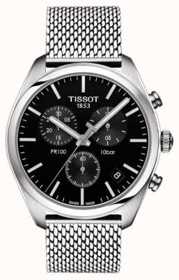 Tissot Mens pr100 cronógrafo negro dial brazalete de acero inoxidable T1014171105101