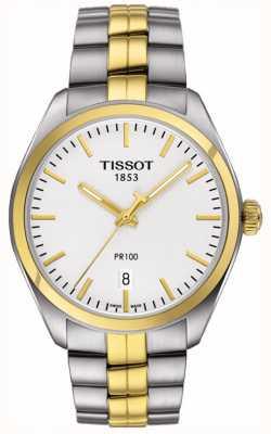 Tissot Mens pr100 fecha de la pulsera chapada en oro de dos tonos T1014102203100