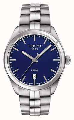 Tissot Brazalete de acero inoxidable pr100 para hombre, esfera azul T1014101104100