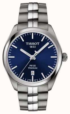 Tissot Hombres pr100 titanio azul dial cuarzo T1014104404100