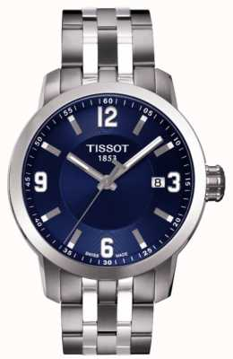 Tissot Mens prc 200 azul marca cronógrafo pulsera de dos tonos T0554101104700