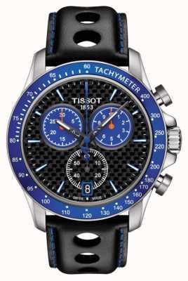 Tissot Hombres v8 alpine azul esfera de fibra de carbono dial cuero negro T1064171620101