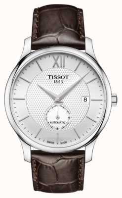 Tissot Mens tradition automatic small second dial cuero marrón T0634281603800
