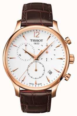 Tissot Mens tradicion cronógrafo cuero marrón chapado en oro rosa T0636173603700