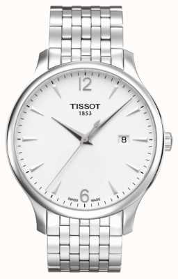 Tissot Mens tradition acero inoxidable pulsera plata esfera T0636101103700