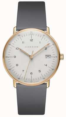 Junghans Max bill damen reloj de cuero gris cuarzo 047/7854.04