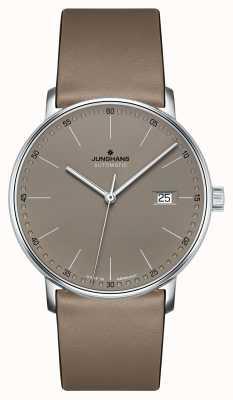 Junghans Forme un reloj automático de correa de cuero marrón 027/4832.00