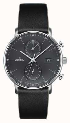 Junghans Correa de cuero negra para hombre forma c cronoscopio 041/4876.00