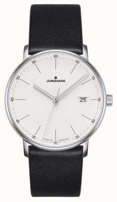 Junghans Forma de reloj de cuero negro de cuarzo 041/4884.00